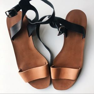 Madewell Leather Black and Tan Sandals